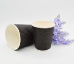 Black Ripple Disposable Paper Coffee Cup for Hot